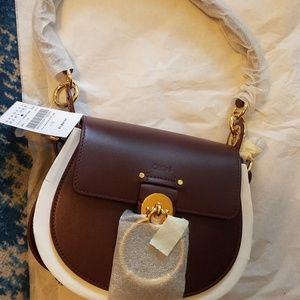 CHLOE Tess Bag, Small, Burgundy with Gold Hardware
